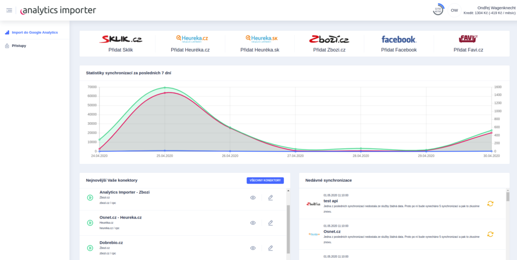 Analytics importer - screenshot z aplikace